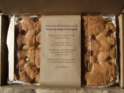 Kent Apple Cake in box, shot from above